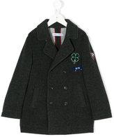 Dolce & Gabbana clover patch double-breasted coat - kids - Nylon/Viscose/Angora/Virgin Wool - 4 yrs