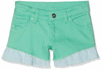 Brums Girl's Shorts Denim Color Elasticizzato Con Voulant