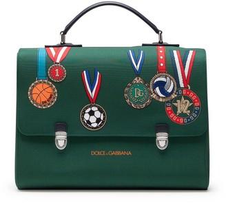 Dolce & Gabbana Kids Medal Print Satchel Bag