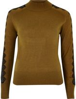 River Island Womens Dark yellow lace sleeve turtleneck top