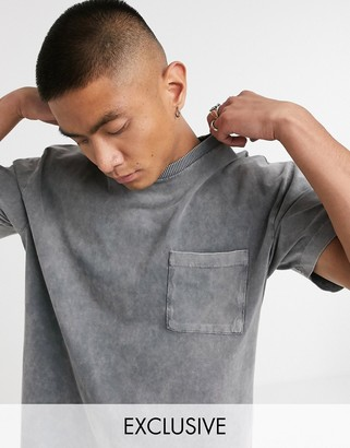 Reclaimed Vintage inspired pocket t-shirt in washed charcoal