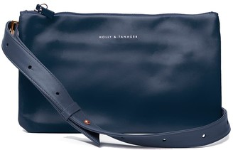 Holly & Tanager Companion Mini Leather Crossbody Clutch In Navy