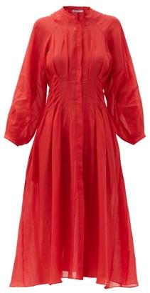 Three Graces London Valeraine Pleated Ramie Dress - Red