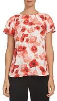 CeCe Women's Floating Poppies Print Blouse