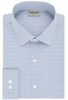 Kenneth Cole Reaction Techni-Cole Men's Slim-Fit Flex Collar Three-Way Stretch Performance Blue Check Dress Shirt