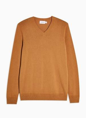 Topman Mens Brown Camel V Neck Sweater
