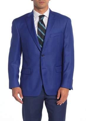 Hart Schaffner Marx Bright Blue Solid Two Button Notch Lapel Wool Classic Fit Blazer