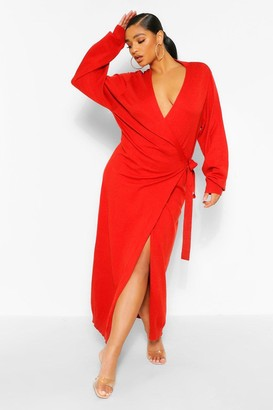 boohoo Plus Knitted Wrap Tie Waist Midi Dress