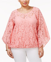 Alfani Plus Size Angel-Sleeve Lace Top, Created for Macy's