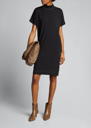 Brunello Cucinelli Wool-Cashmere Short-Sleeve Dress