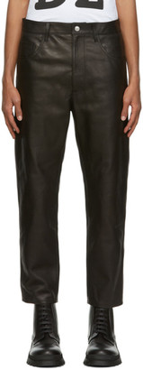 DSQUARED2 Black Leather Brad Trousers
