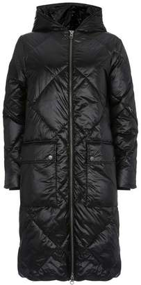 Mint Velvet Black Quilted Longline Coat