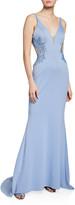 Faviana V-Neck Sleeveless Cutout-Back Neoprene Gown