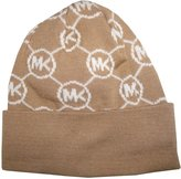 Michael Kors Women's Circle Logo Knitted Beanie Hat, Camel / Cream