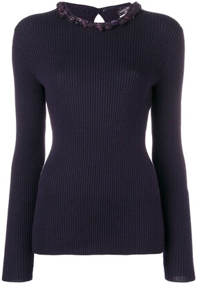 Chanel Pre Owned Embellished Ribbed Jumper