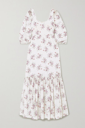 LoveShackFancy Aerin Colby Floral-print Cotton-voile Maxi Dress - White
