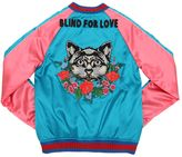 Gucci Embroidered Satin Padded Bomber Jacket