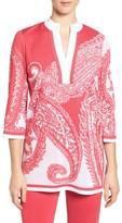 Ming Wang Women's Print Split Neck Knit Tunic