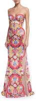 Naeem Khan Strapless Embroidered Illusion Gown, White/Multi