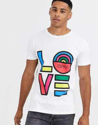 Esprit t-shirt with rainbow Love print in white
