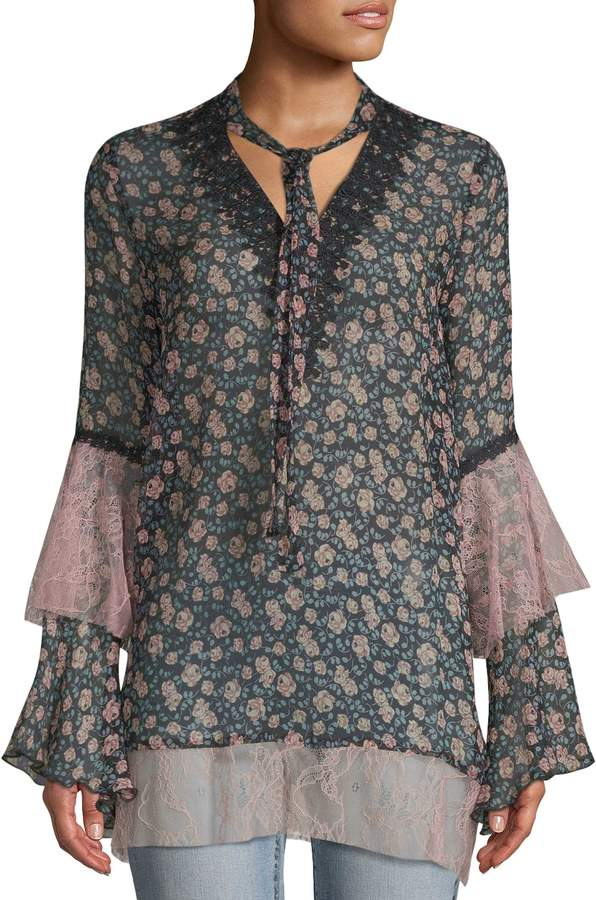 Anna Sui Women's Lilies of the Valley Crinkle Chiffon & Garden Lace Dress