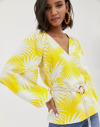 Asos Design DESIGN long sleeve plunge top with kimono sleeve and rope belt in palm print-Multi