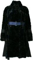 Sacai belted faux fur coat - women - Acrylic/Modacrylic/Nylon/Wool - 2
