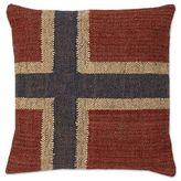 Aura Norway Flag Linen Square Throw Pillow in Red