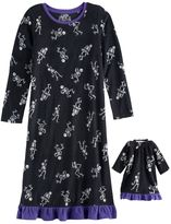 Jammies For Your Families Girls 4-16 Jammies For Your Families Skeleton Microfleece Halloween Nightgown & Doll Gown Pajama Set