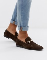 Office lemming bar loafers in brown suede