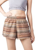 Lofbaz Women's Printed Lace Summer Shorts Dark Purple XL