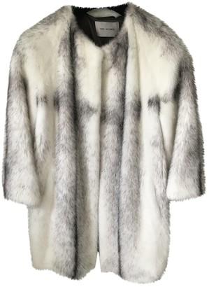 Yves Salomon White Mink Coat for Women