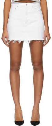 A Gold E Agolde AGOLDE White Denim Quinn Hi Rise Miniskirt