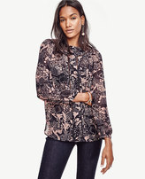 Ann Taylor Petite Forest Lacy Blouse