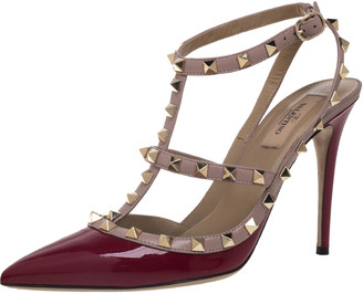 Valentino Red Patent Leather Rockstud Ankle Strap Sandals Size 40