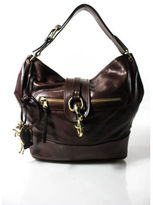 Chloé Brown Leather Gold Tone Single Strap Horse Charm Flap Hobo Handbag