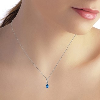 Overstock 0.46 Carat 14K Solid White Gold Ball in Court Blue Topaz Diamond Necklace