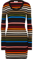 Sonia Rykiel Striped Ribbed-knit Mini Dress - Orange