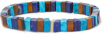Luis Morais 14-Karat Gold Lapis, Turquoise And Tiger's Eye Bracelet
