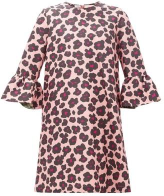 La DoubleJ Leopard-print Ruffled Faille Dress - Black Pink