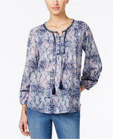 Style&Co. Style & Co. Lace-Up Peasant Top, Only at Macy's