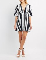 Charlotte Russe Striped Plunging Skater Dress