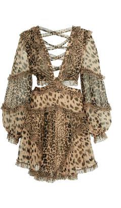 Zimmermann Allia Cutout Leopard-Print Chiffon Mini Dress