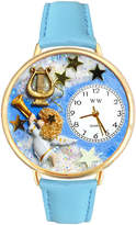 Whimsical Watches Personalized Angel Womens Gold-Tone Bezel Light Blue Leather Strap Watch