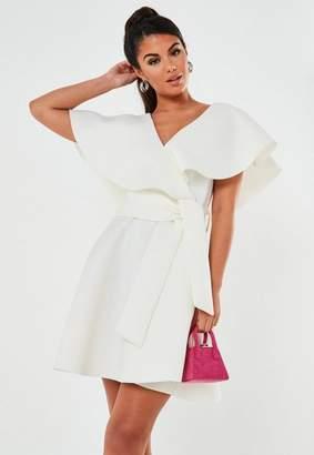 Missguided White Wrap Front Ruffle Skater Scuba Mini Dress