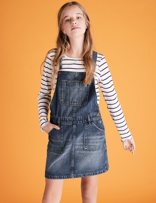 Marks and Spencer 2 Piece Denim Pinafore Outfit (6-16 Yrs)