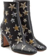 Valentino Leather Ankle Boots with Embroidery