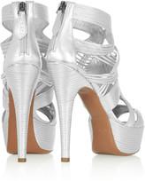 Alaia Metallic leather platform sandals