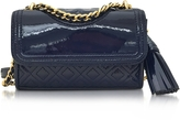 Tory Burch Fleming Patent Royal Navy Micro Shoulder Bag