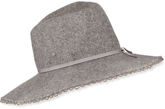 Gigi Burris Millinery Drake Wool Felt Fedora Hat w/ Beaded Edge